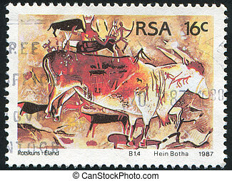 Petroglyphs - SOUTH AFRICA - CIRCA 1987: stamp printed by...