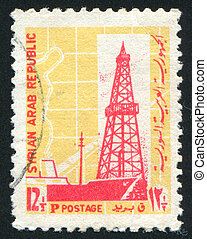 Oil Derrick - SYRIA - CIRCA 1968: stamp printed by Syria,...
