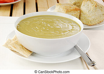 Bowl of split pea soup - A bowl of split pea soup with...
