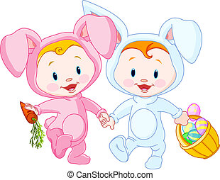 Easter Babies-bunnies - Two cute Easter Babies-bunnies,...