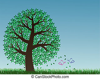 Tree and two butterflies