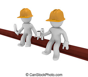 Under construction - Two worker on a steel beam with coffee,...