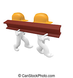 Hard working - Two worker with a steel beam, 3d image
