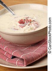 crema, queso, sopa, tocino