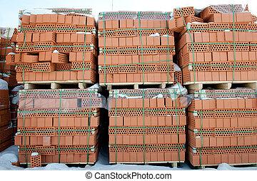 Pallet of red brick