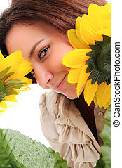 Woman and flower. Isolated over white.