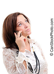 woman talking over phone - Woman talking over phone Isolated...