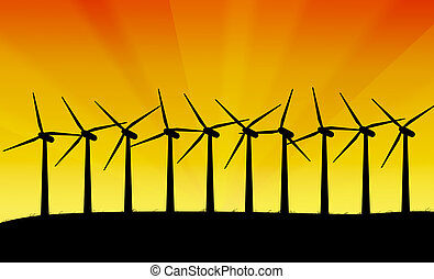 Wind turbines. - Illustration depicting a row of silhouetted...