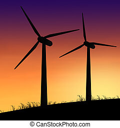 Wind turbines. - Illustration depicting two silhouetted wind...