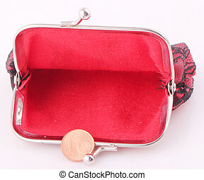 purse - A red purse with a 1 cent coin