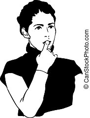girl with a finger in to the mouth - sketch of girl with a...
