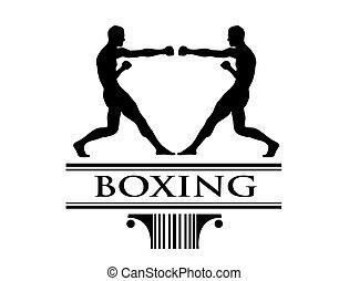 Boxe tournament clip art logo - Handmade illustration of...