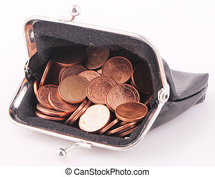 purse - A black purse with coins