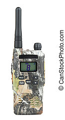 Walkie-talkie - One PMR radio and isolated white background.
