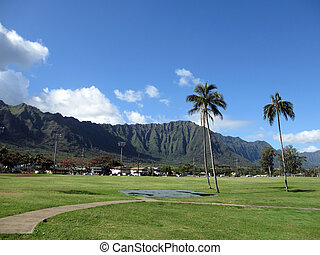 Grassy field at Waimanalo District Beach Park with mountains...
