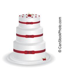 witte, taart, illustratie