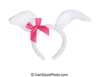 Bunny ears - Easter bunny ears with red bow isolated on...