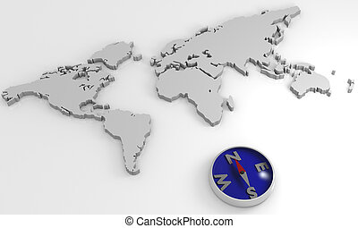 world map with compass - 3D rendering world map with a...