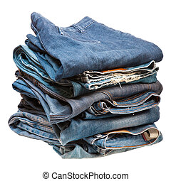 stack of blue denim clothes on white background
