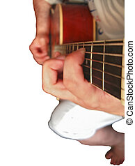 Man playing music on wooden accoustic guitar on white...