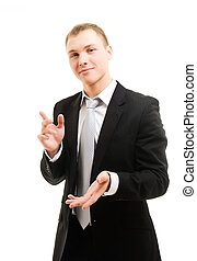 Cheerful young man. Isolated over white