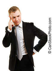 idea - Thinking young man over white background.