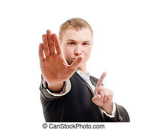 Stop - Young man gesturing stop. Focused on right palm