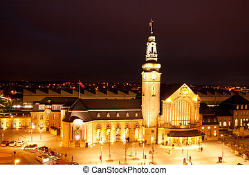 Luxembourg train station - Illuminated Luxembourg Railway...