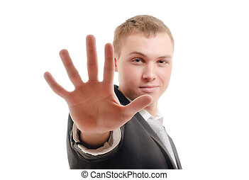 Stop - Young man gesturing stop
