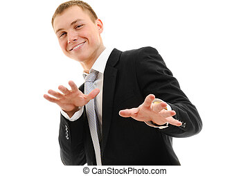 Cheerful young man Isolated over white