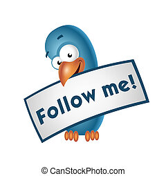 Follow me - Bird holding a follow me sign