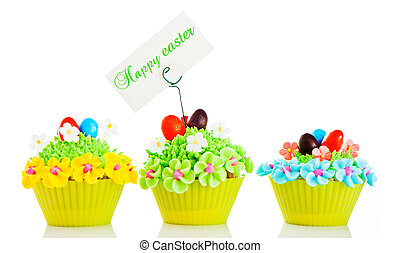 Happy easter cupcake with chocolate egg and cream grass as a...