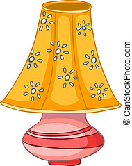 Cartoon Home Lamp Isolated on White Background Vector