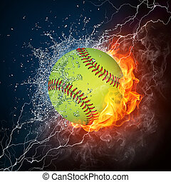 Baseball Ball on Fire and Water. 2D Graphics. Computer...