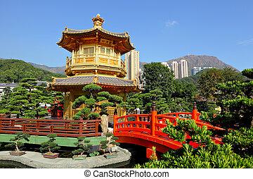 Ouro, Pavilhão, Chinês, jardim