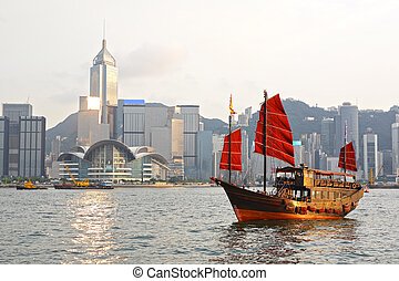 Hong Kong harbour with tourist junk