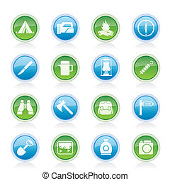 tourism and hiking icons - vector icon set