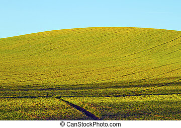 Landscape of a green hill under the blue sky