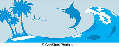 waves, marlin and tropical island - - sea background and...