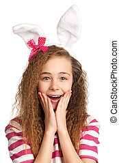 Girl with bunny ears - Portrait of happy girl with bunny...