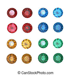 Collections of gems isolated on white background Gemstone