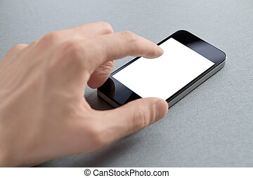 Hand Touching Blank Mobile Phone - Hand touching mobile...