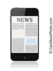 News On Mobile Smart Phone Isolated