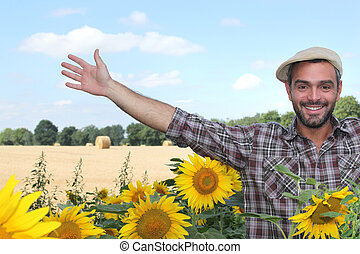 Farmer and sunflowers