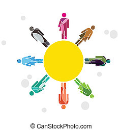 Human diversity concept - A brightly colored human diversity...
