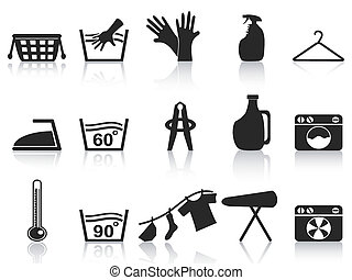 black laundry icons set - isolated black laundry icons set...