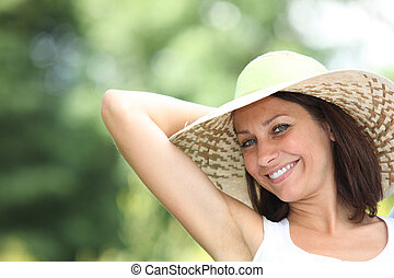 woman relaxing at spring time