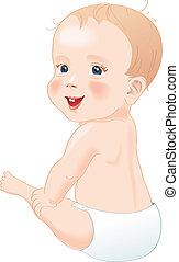 Baby in diapers smiling - Adorable baby in diapers smiling,...