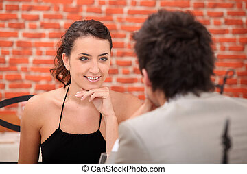 Woman having in an interesting conversation