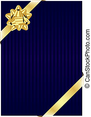 blue background with gold bow